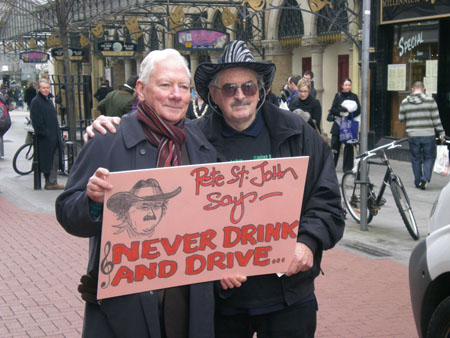 Gay Byrne and Pete St John Launch the Never Drink and Drive Song outside the Gaiety Theatre in Dublin